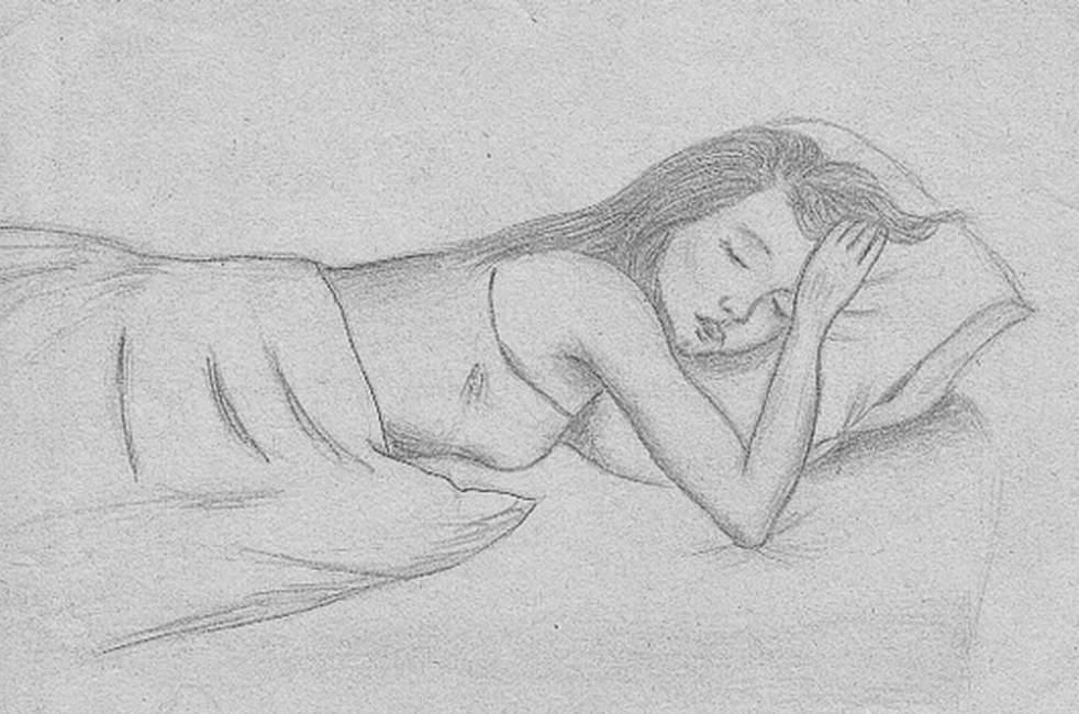 Рисунок карандашом девушка которая спит